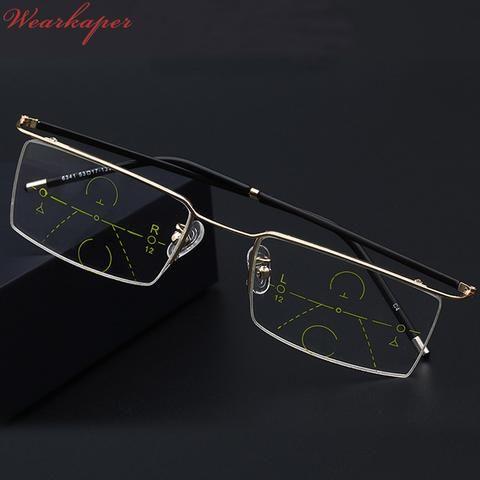 3034504067 WEARKAPER Half Frame Eyewear Photochromic Progressive Multifocal Reading  Glasses Men Women Presbyopia Hyperopia Multifocal