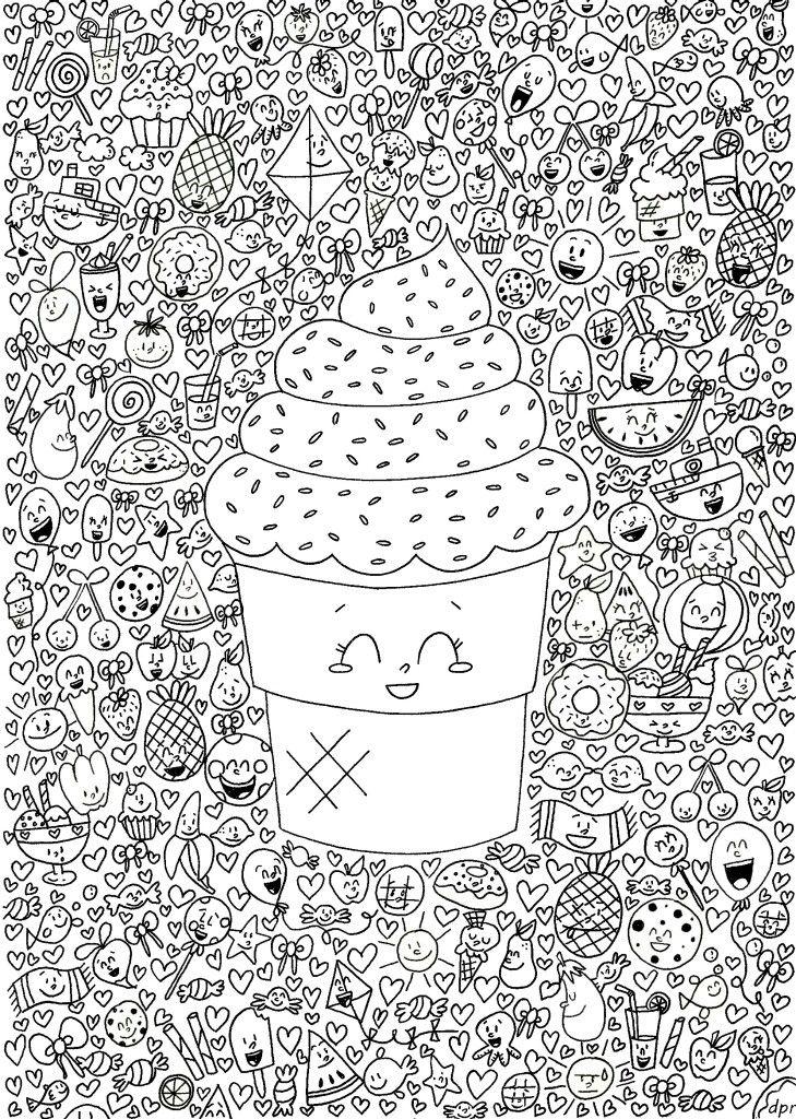 Kawaii Dibujos Para Colorear Adultos Libros Para Colorear Y