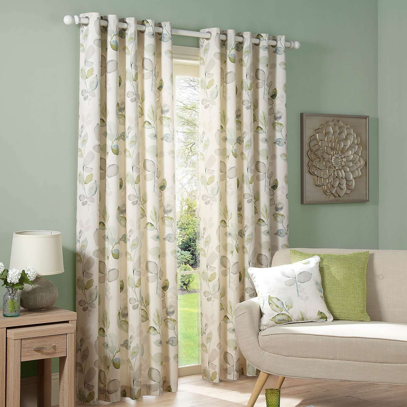 Green bedroom curtains - Ezra Green Lined Eyelet Curtains Dunelm