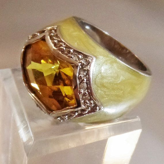 Vintage Yellow Citrine Diamond Enamel Ring. Diamond and by waalaa