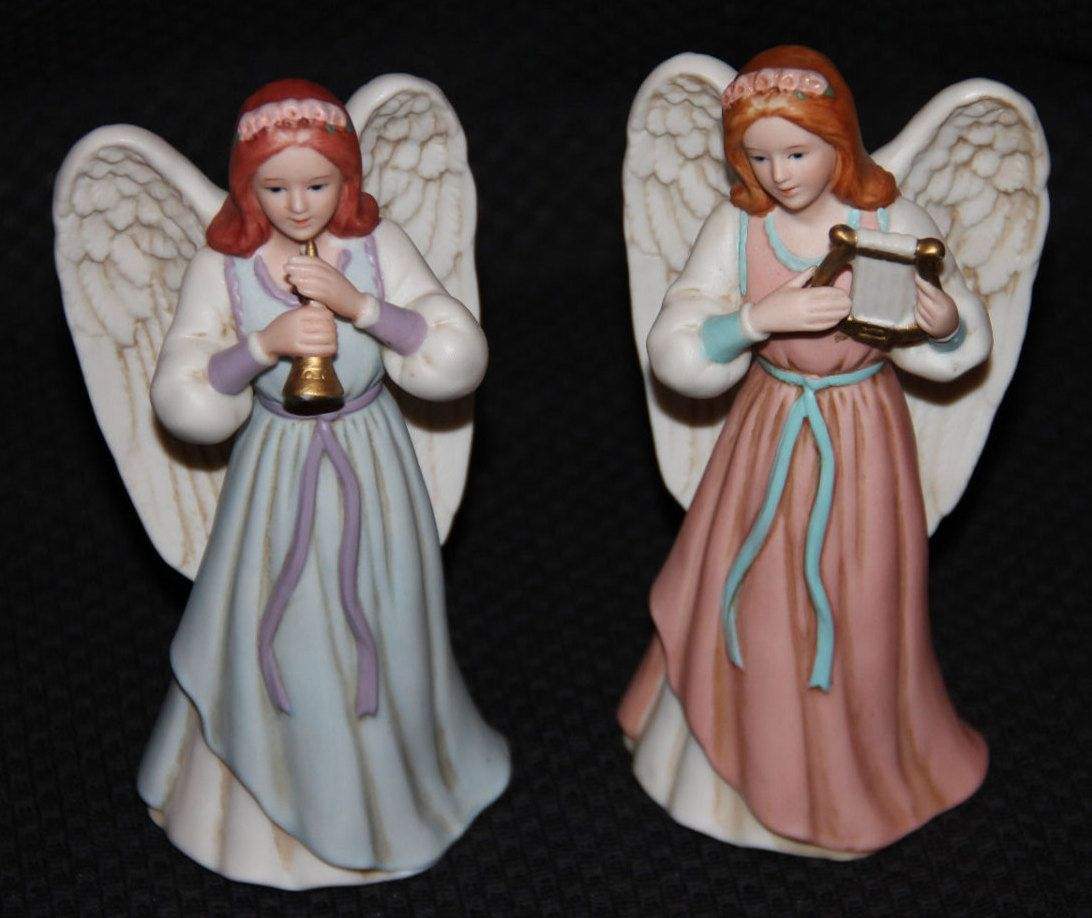 home interior homco heavenly duet set of 2 angel figurines 1422