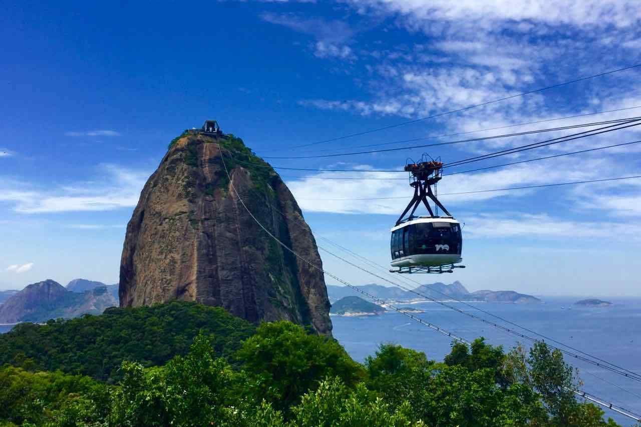 Zuckerhut Rio De Janeiro Pao De Acucar Brasilien Gondel Auf Dem Weg Zum Gipfel Titel C Peterstravel Brasilien Rio De Janeiro Gondel