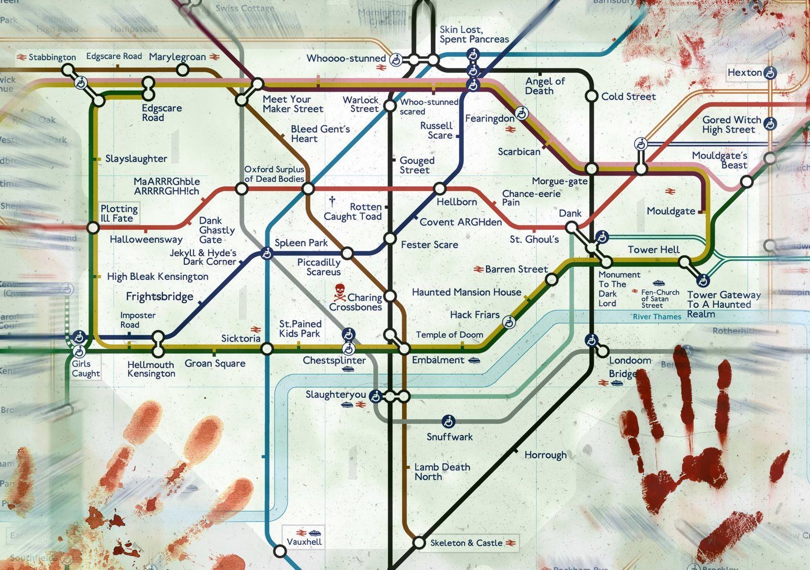 halloween london underground tube map