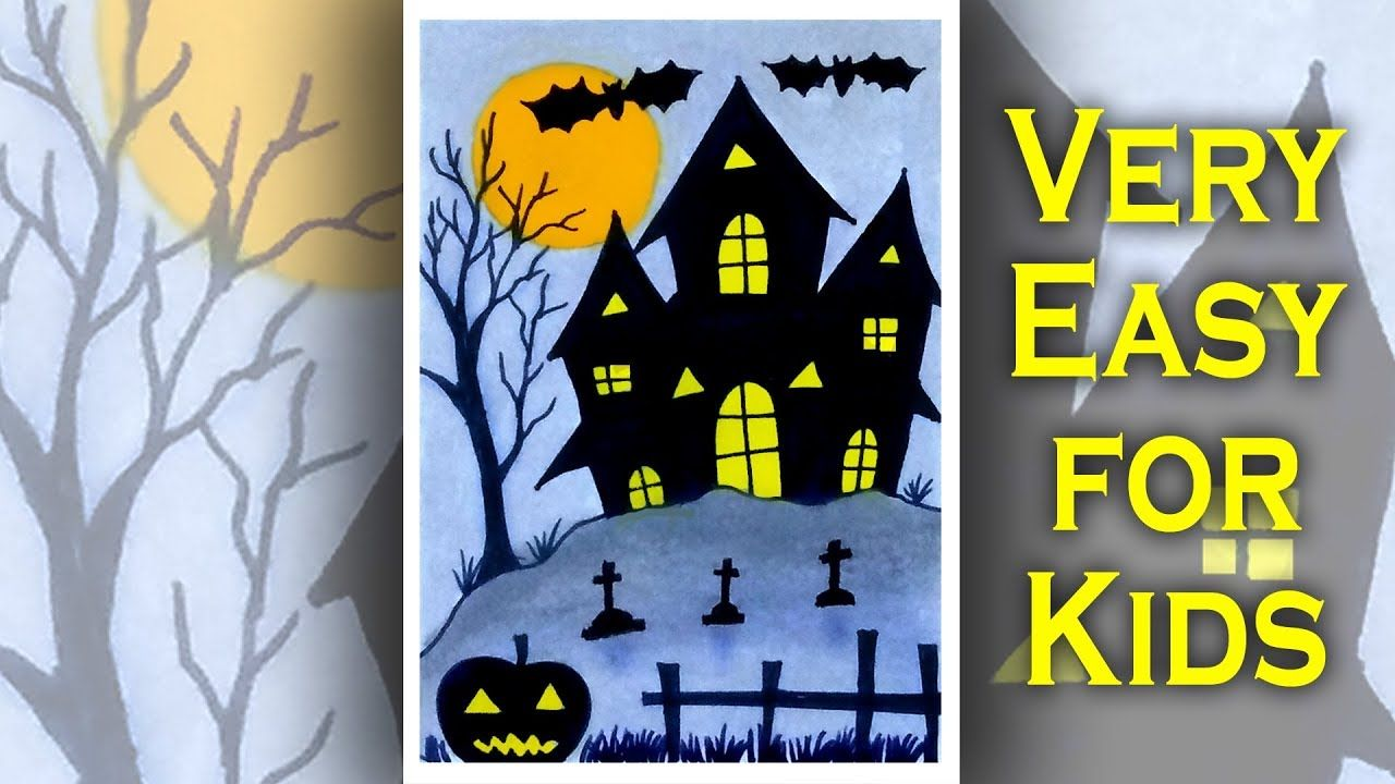 How To Draw Halloween House Easy Oil Pastel Scenery Drawing For