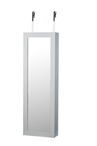 BTEXPERT White Makeup Cosmetic Organizer Cheval Mirror Over Door Wall Mount  Hang Jewelry Cabinet Armoire Vanity