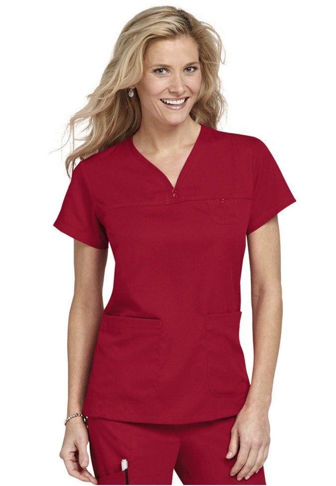 Greys Anatomy 3-pocket empire v-neck scrub top. Medium. Hot Tamale ...