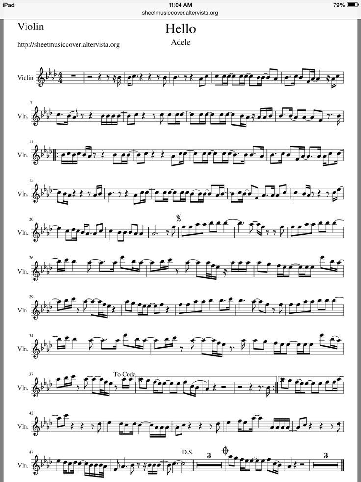 All Music Chords hello sheet music : Adele - Hello violin sheet music | Free Violin Sheet Music ...