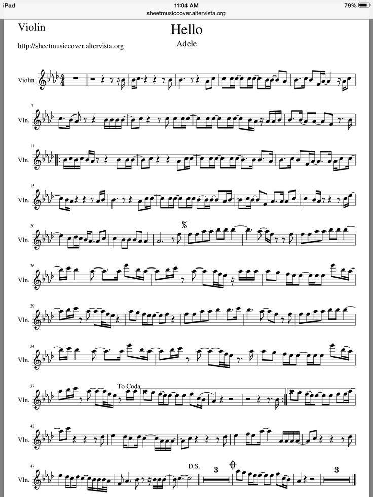 Piano hello piano sheet music : Adele - Hello violin sheet music | Free Violin Sheet Music ...