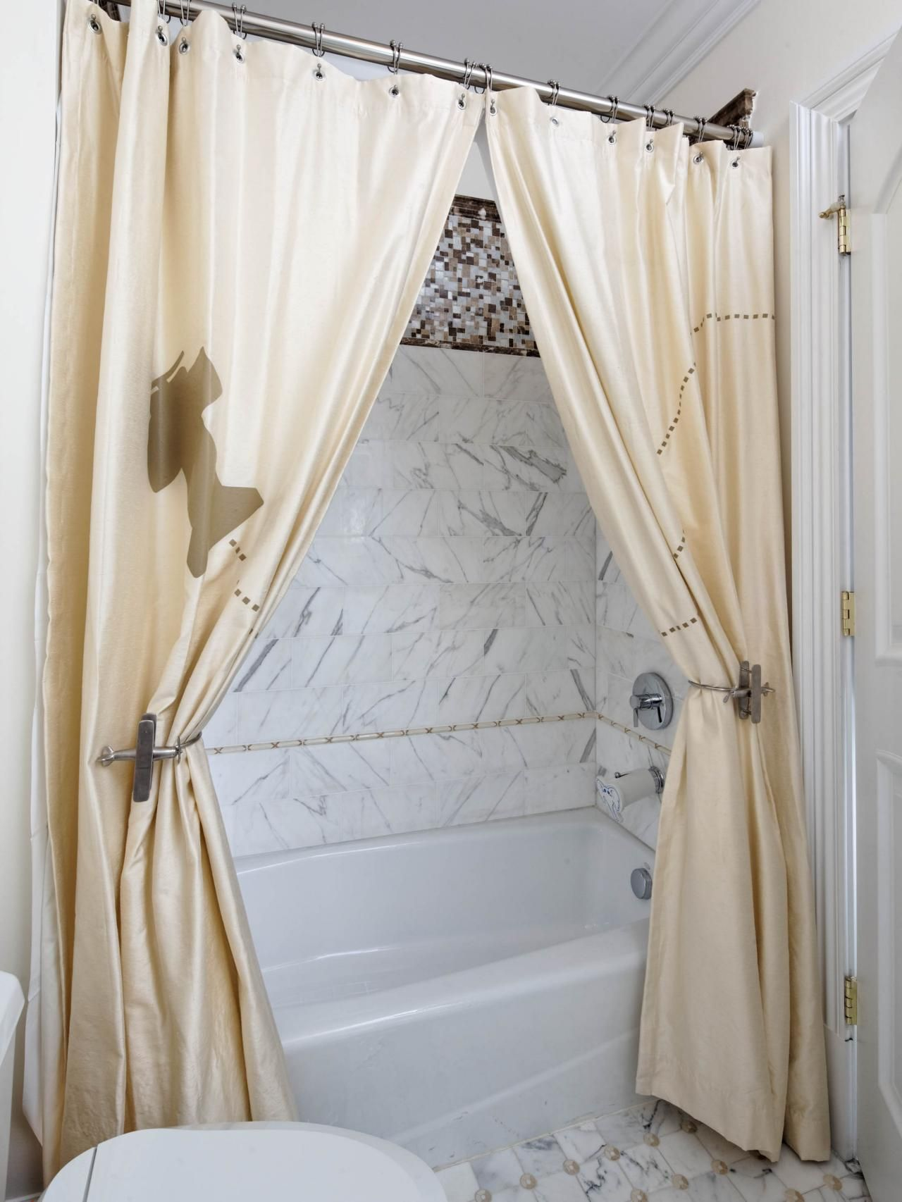 using two shower curtains and a pair of whimsical drapery tie