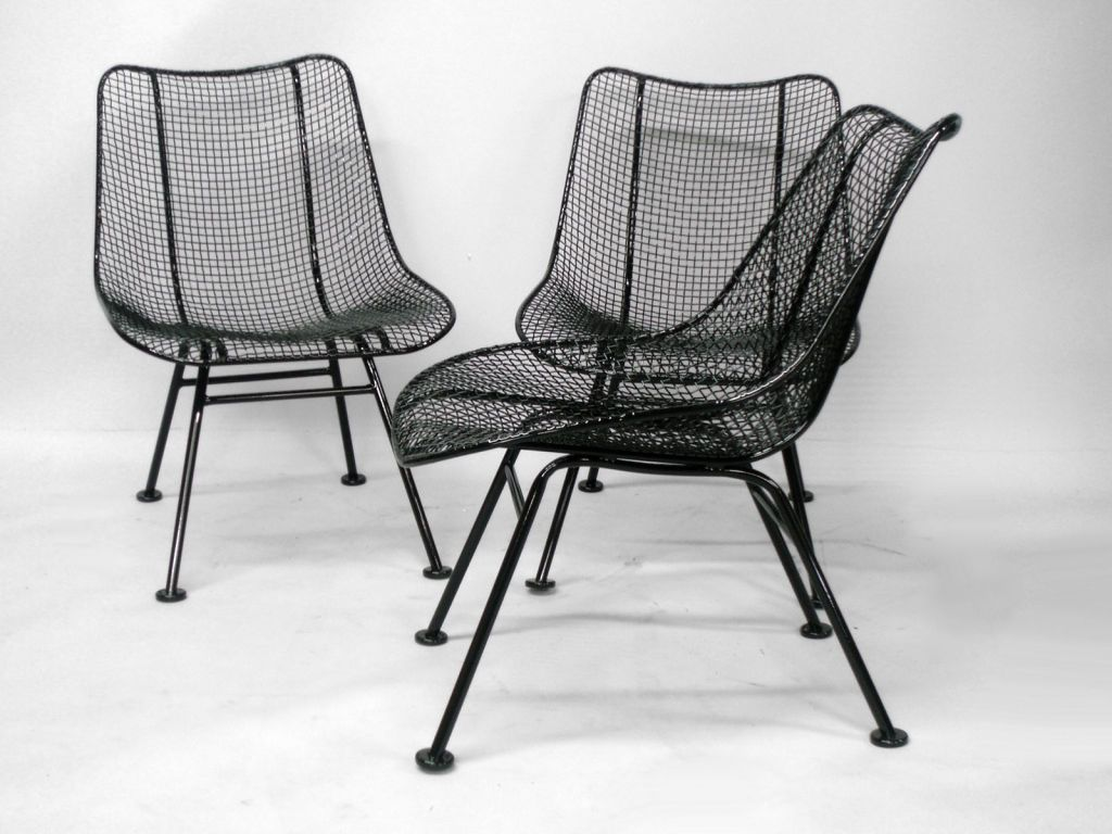 Wrought Iron And Mesh Dining Chairs By Russell Lee Woodard Co. Image