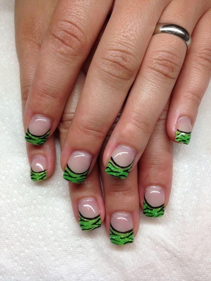 Green French tipped nails | NAIL ART | Pinterest | Nail nail ...