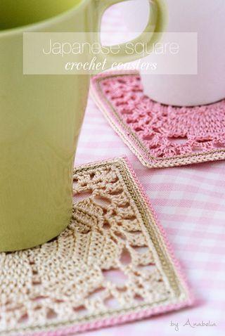 Japanese square crochet coasters, free pattern (Anabelia Craft ...