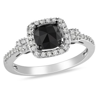 Nice T.W. Enhanced Black And White Cushion Cut Diamond Buckle Ring In 14K White  Gold   Zales I WANT THIS RING SO BAD!!!