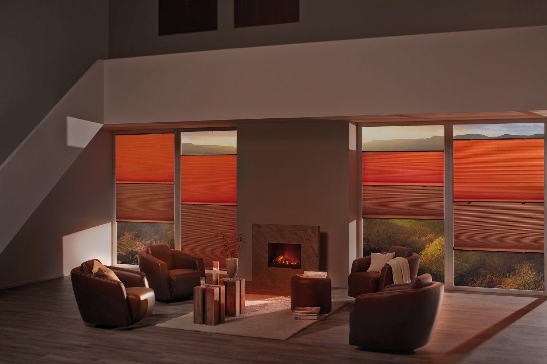 Orange duette living room blinds energy saving blinds contemporary
