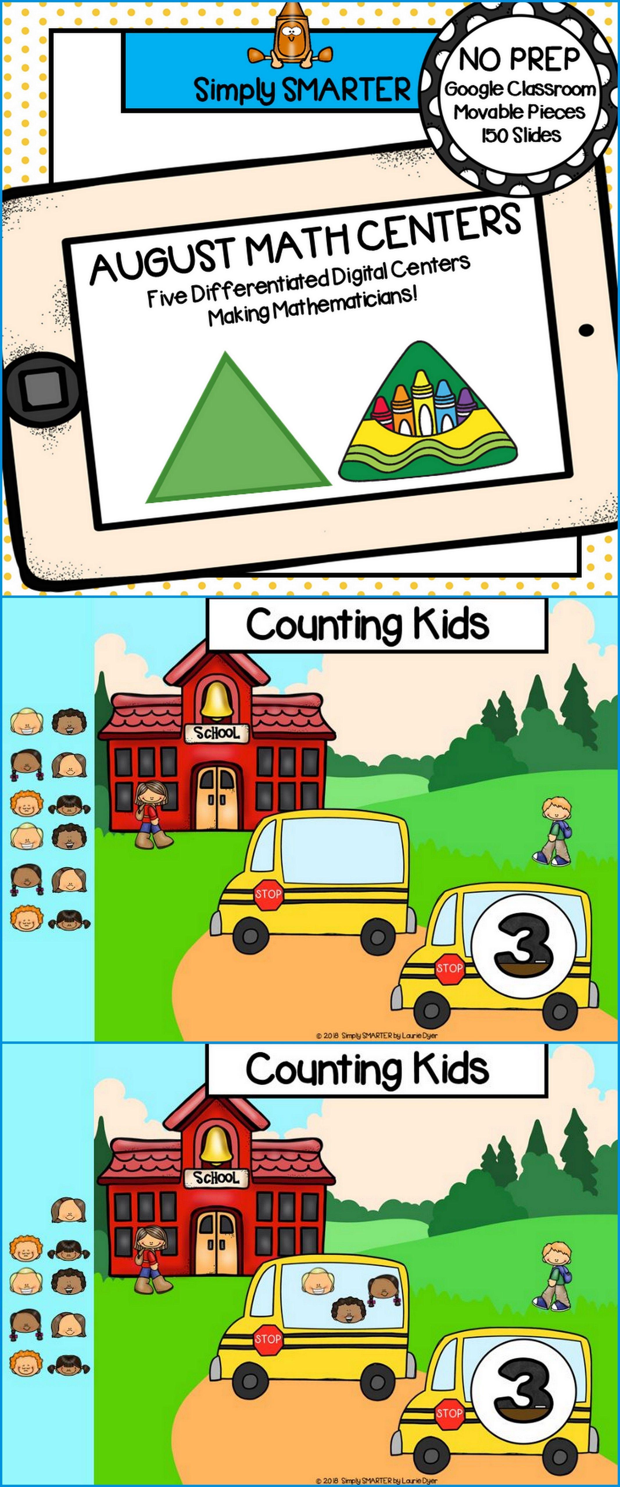 August Kindergarten Digital Math Centers For