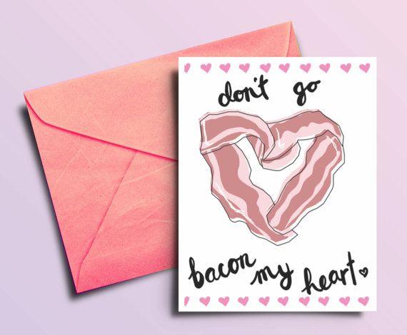 Bacon Valentine Card Funny Printable Valentine Food by BAECKANN – Funny Printable Valentine Cards