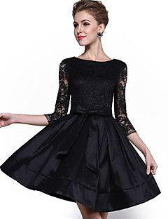 Mujer Encaje   Pequeño Negro   Corte Skater Vestido Fiesta Cóctel   Tallas  Grandes Sofisticado e517ba9ec49c
