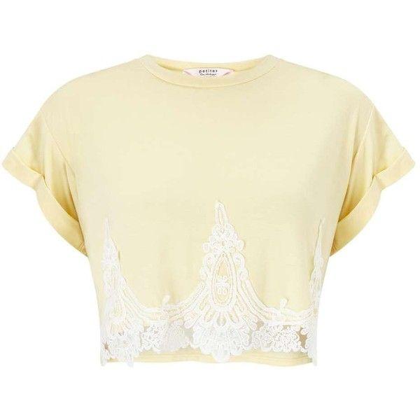 d7ef241d5b1e9 Miss Selfridge PETITE Crochet Hem T-Shirt ( 35) â ¤ liked on Polyvore  featuring
