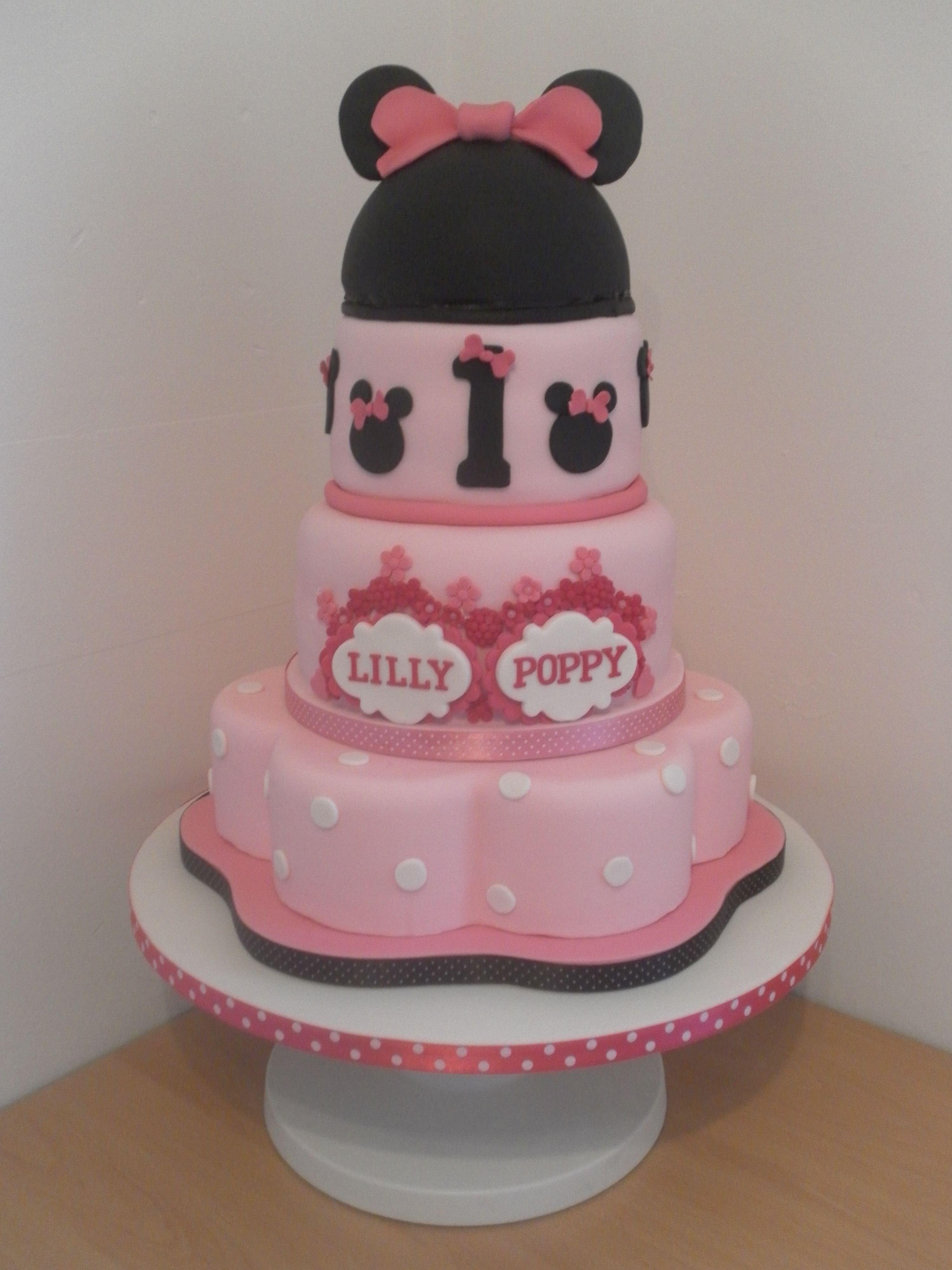 Minnie Mouse Twin Birthday Cake Twin Birthday Cakes Minnie Cake
