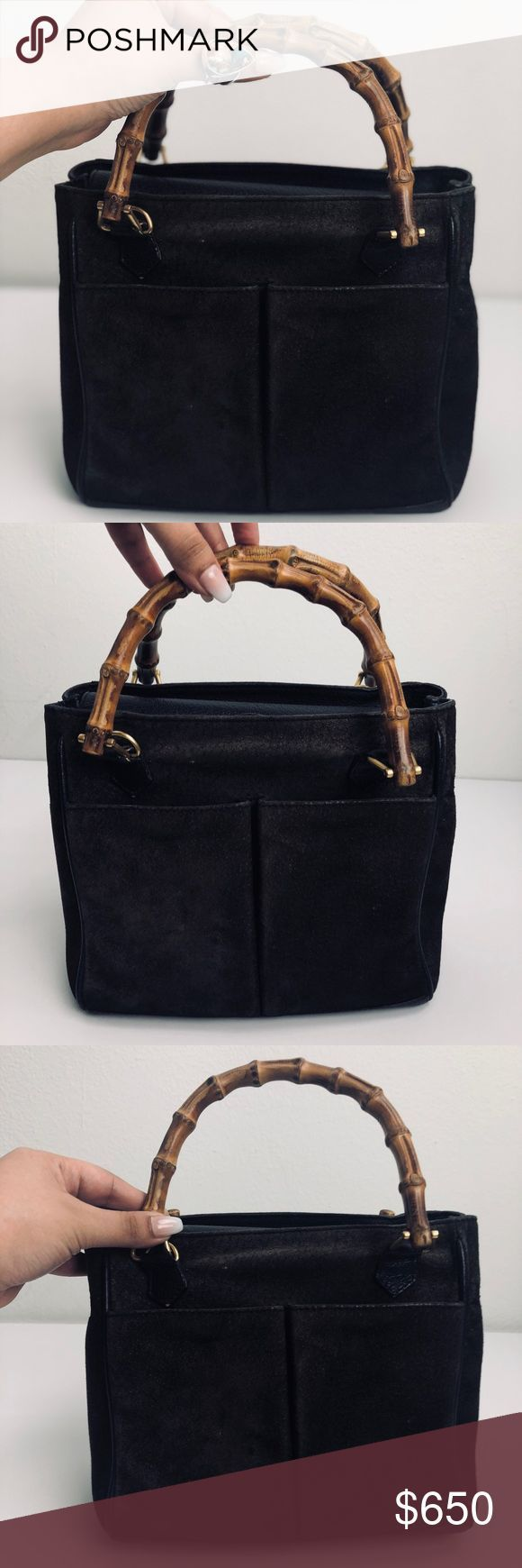 5ae40658be0 Gucci RARE Vintage Bamboo Handle Bag Authentic Brown suede vintage Gucci  tote with gold-tone