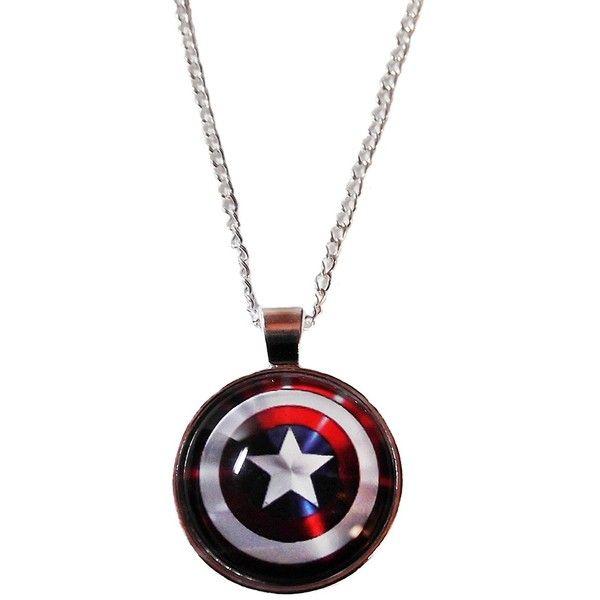"Marvel Comics CAPTAIN AMERICA Logo Shield Glass Dome PENDANT on 20/"" Chain"