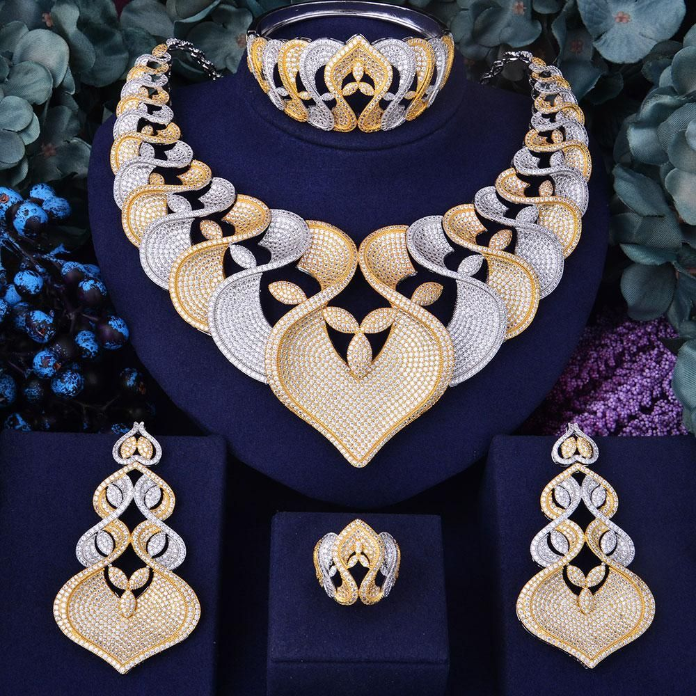00ae4cc11 GODKI Super Luxury Geometry Flower Women Wedding Cubic Zirconia Choker  Necklace Earring Dubai Jewelry Set Jewellery Addict