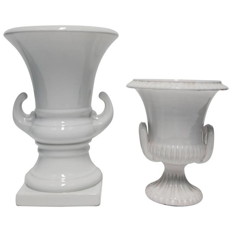 Set Of Italian Neoclassical White Pottery Urn Vessel Or Vase