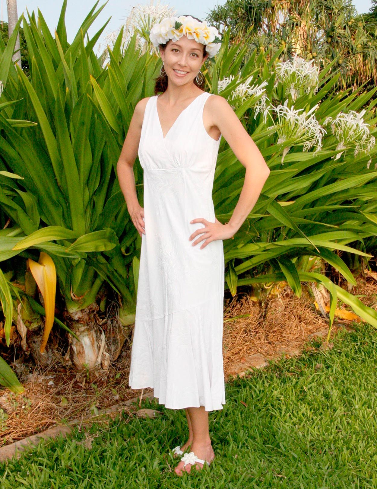 Hawaiian wedding dress  Check out the deal on White Lehue Wedding V Neck Mid Lenght Dress