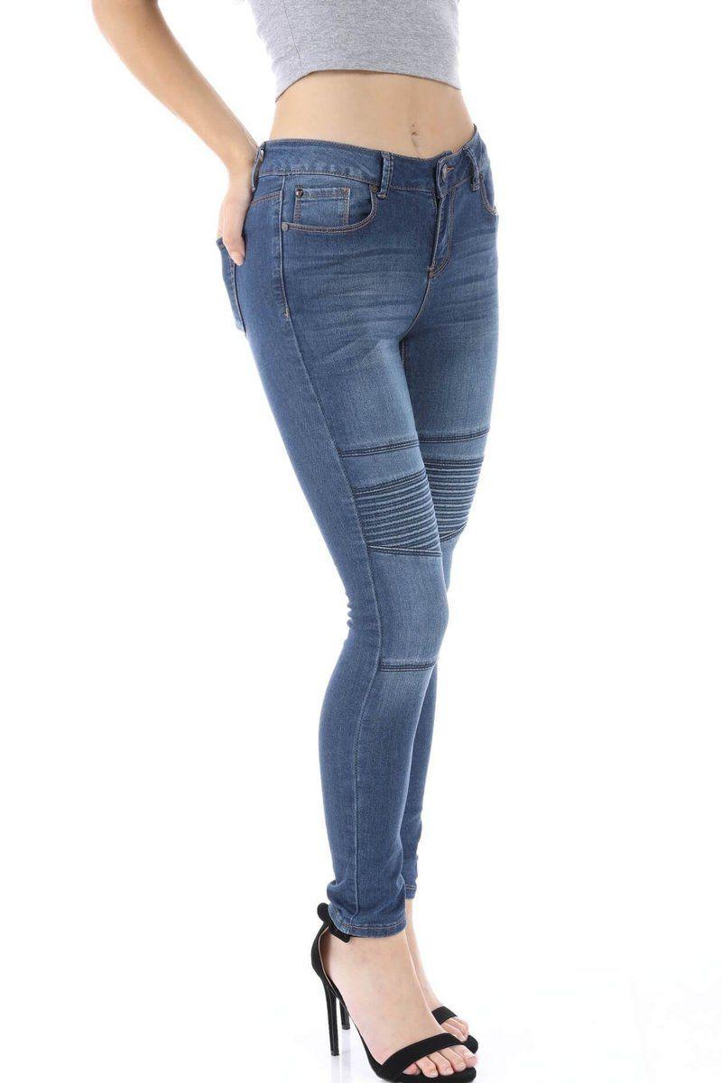 3511a8b817a9 Salt Tree Women's EnJean Moto Style Washed Out Biker Skinny Jeans in ...