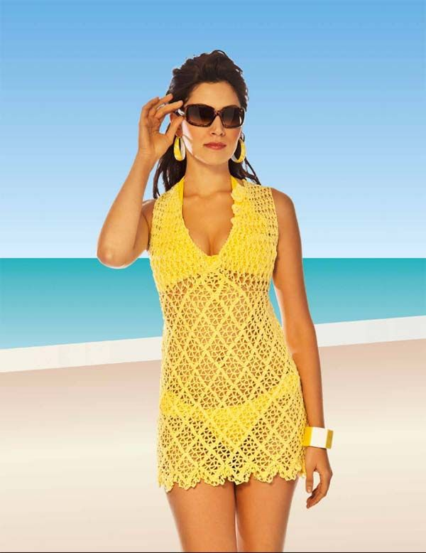 da70953fc115 Receita Saída de Praia Amarela com Alças Ponto Segredo | Crochet ...