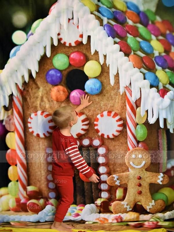 Christmas Gingerbread House Background.Kate Christmas Candy House Background Children Holiday For