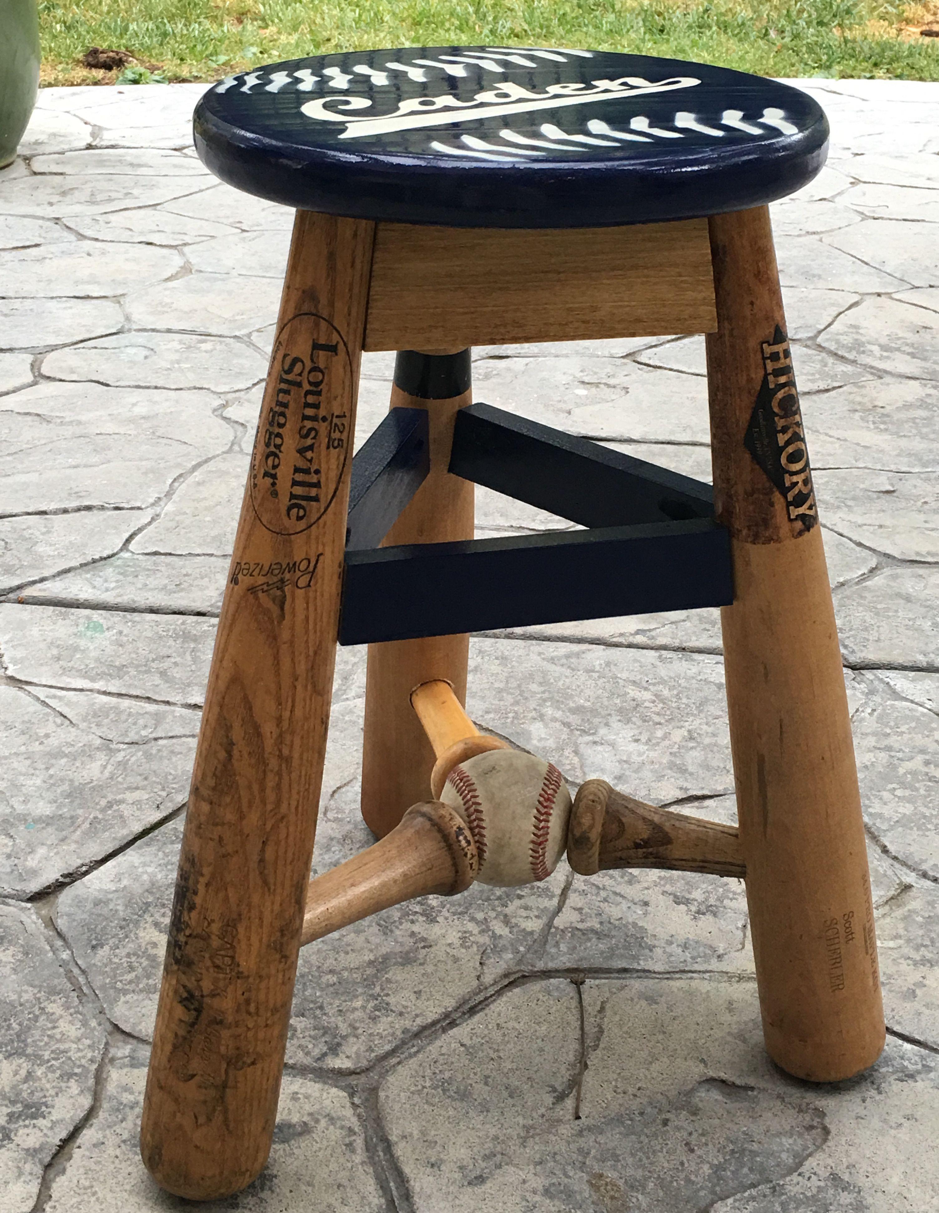 Broken bat three legged stool custom made for a birthday t