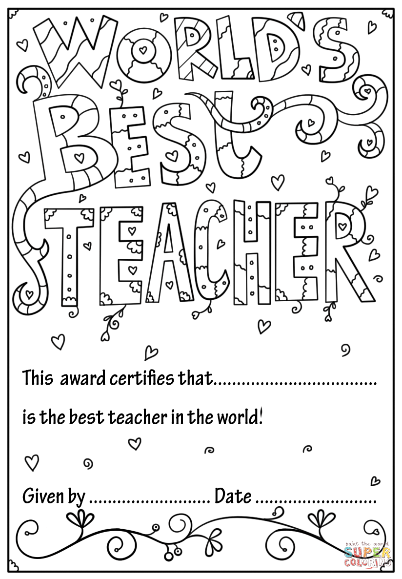 - World's Best Teacher Diploma Coloring Page Free Printable Col