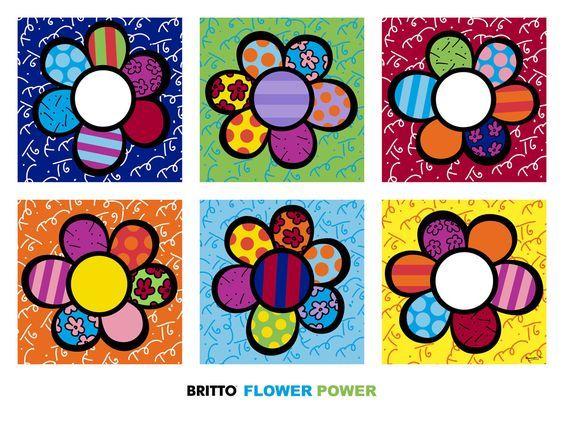Les enfants ont d couvert un nouvel artiste romero britto nos fleurs du printemps en - Coloriage fleur britto ...