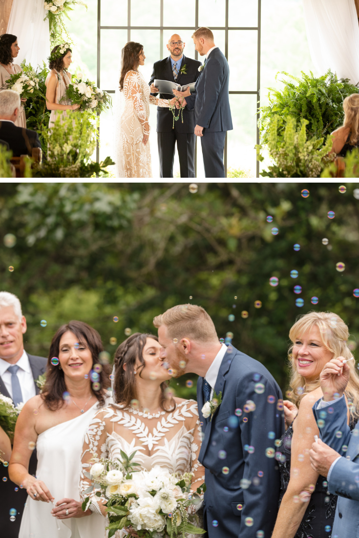 Bubbles After Wedding Ceremony Bride And Groom Are Surrounded By Family And Bridal Par Wedding Photography Styles Fun Wedding Photography Wedding Photography