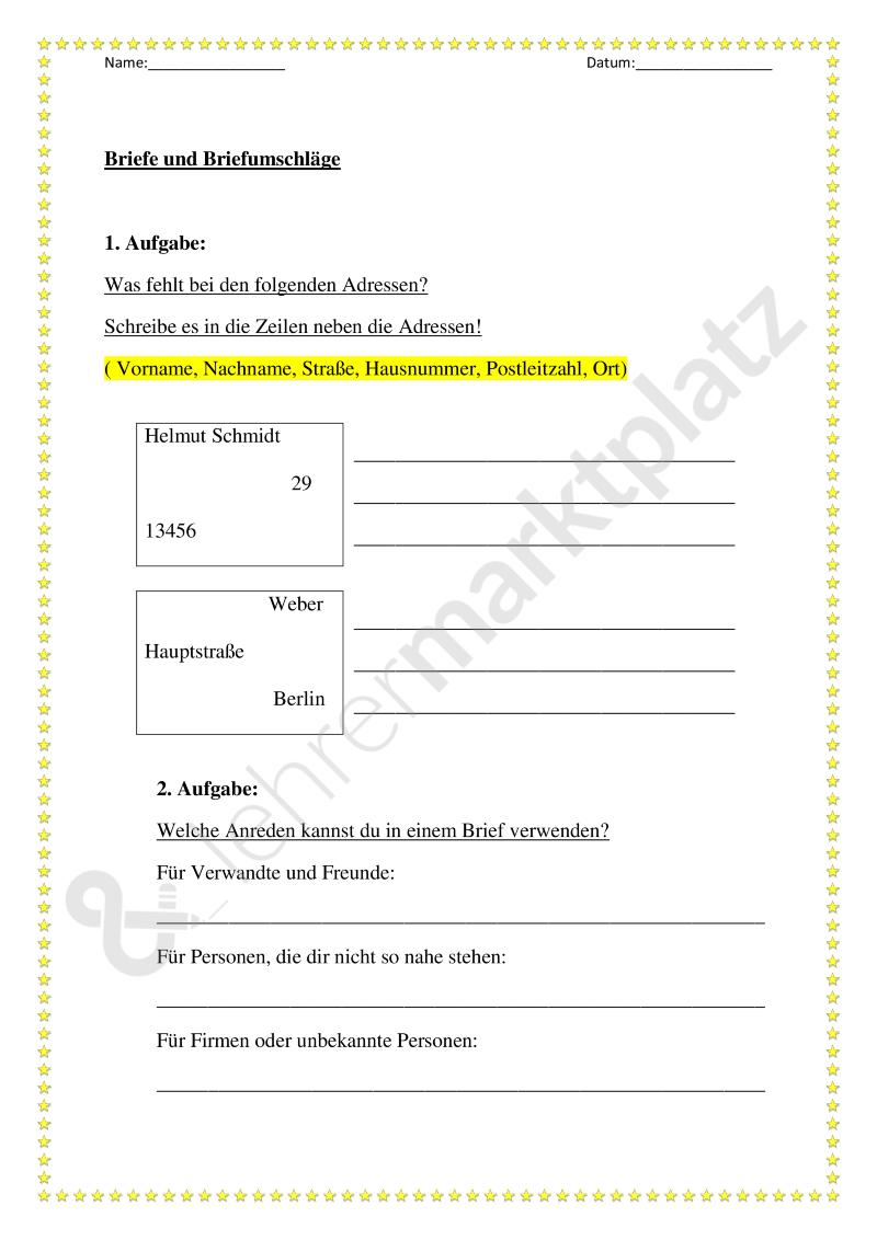 Thema Brief Briefumschlag Unterrichtsmaterial Im Fach Deutsch Briefumschlag Umschlag Brief