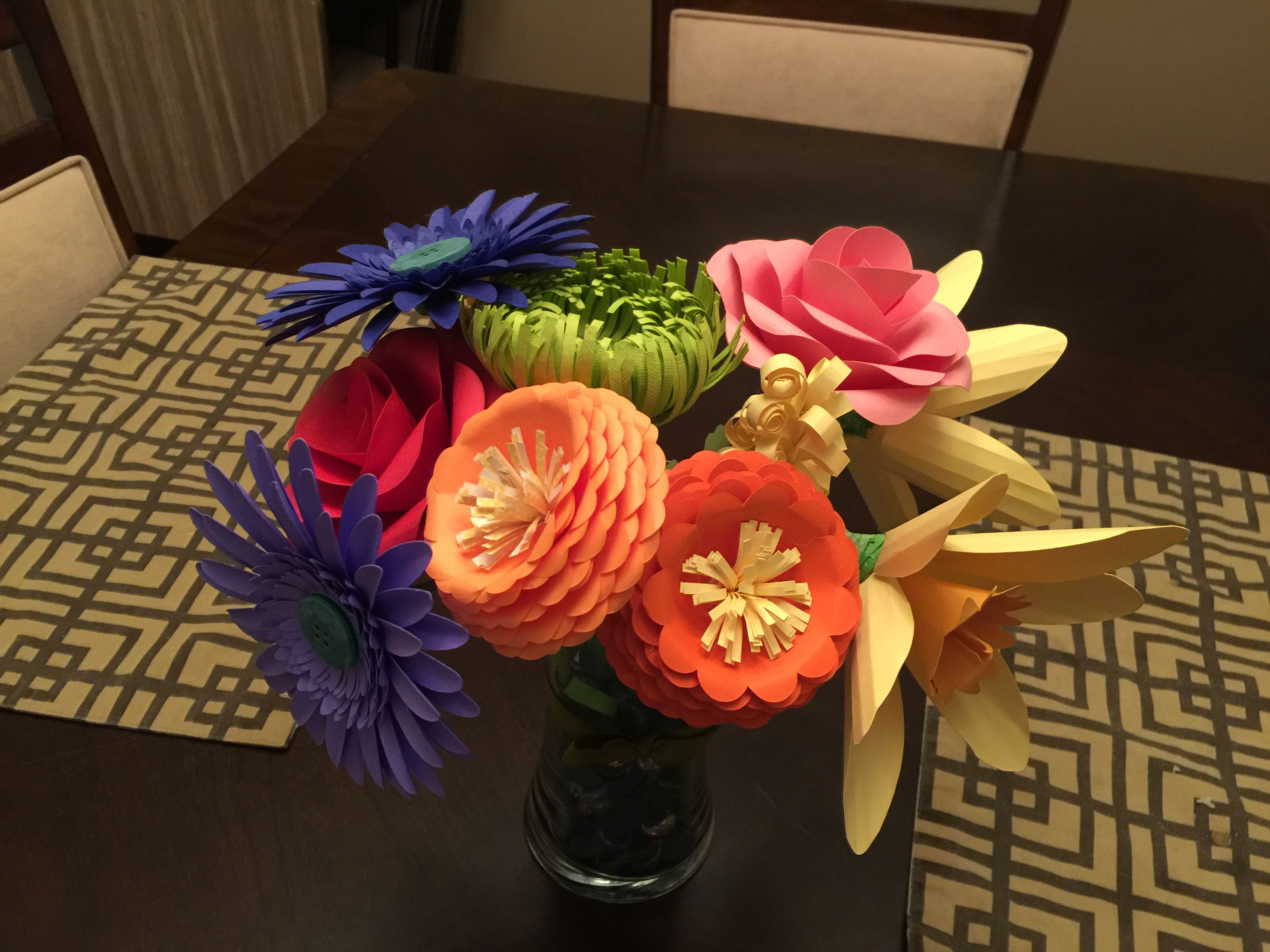Paper Flower Bouquet Using Patterns Found On Pinterest Paper Flower Bouquet Flowers Bouquet Paper Flowers