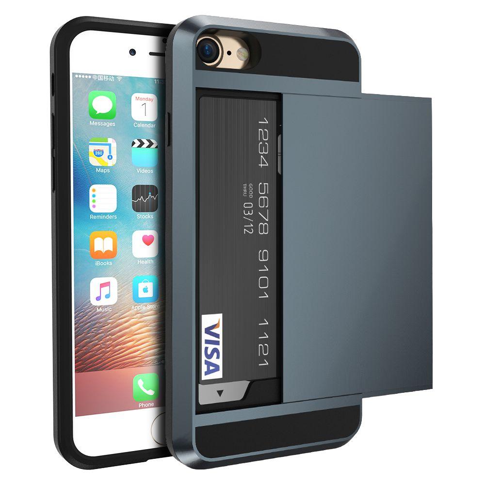 갑옷 슬라이드 케이스 iphone 7 7 plus 커버 숨겨진 카드 홀더 전화 커버 iphone 6 6 s plus 케이스 coque pc tpu 하이브리드 커버
