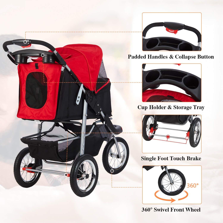 VIAGDO Premium Heavy Duty Pet Stroller for Small Medium