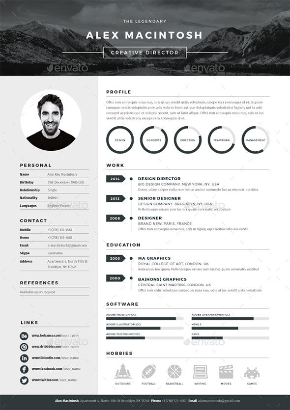 20 Best Resume Templates Cv template, Curriculum and Cv design - resume format for it professional