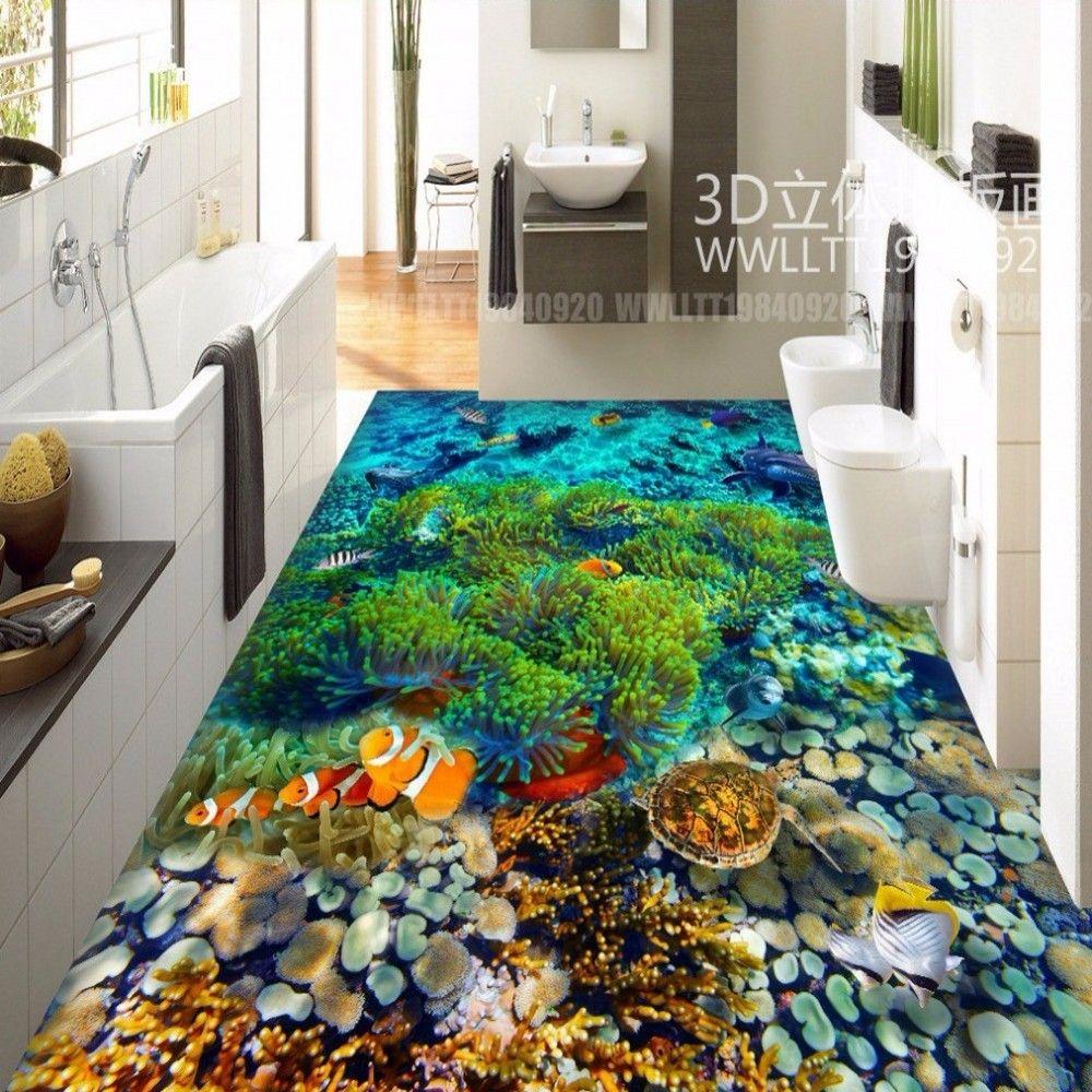 Kostenloser Versand Wasserwelt Tropische Fische 3d Bodenfliesen Tragen Rutschfeste Wasserdicht Restaurant Lobby E 3d Fussboden Tapeten Wandbilder 3d Bodenbelag