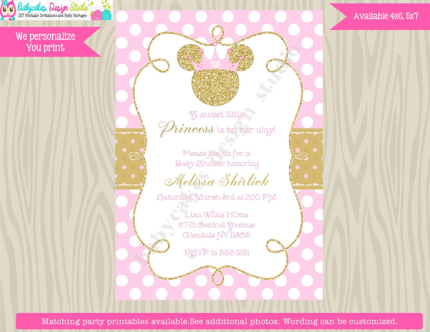 Minnie Mouse Baby Shower Invitation Invite Pink and Gold princess ...