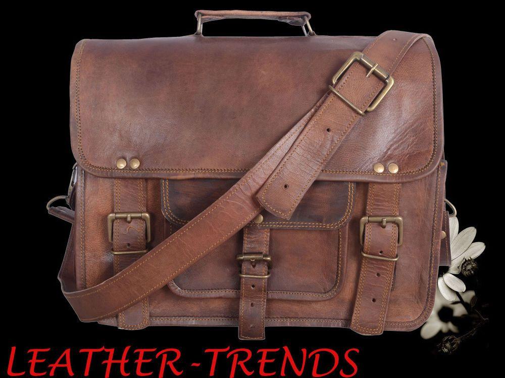 New Real Goat Leather Vintage Messenger Shoulder All Type Laptop Bag Briefcase
