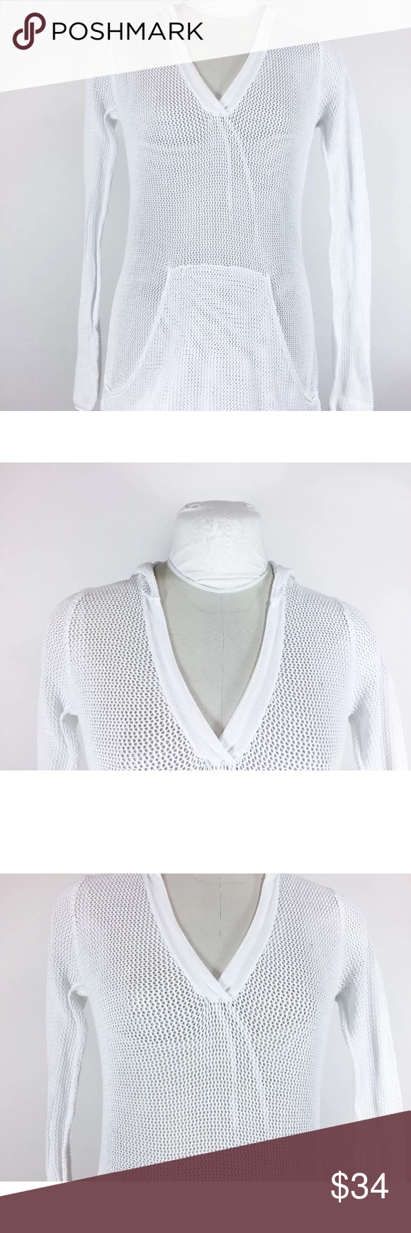 "Cabi White Knit Sweater V Neck Hood Pocket Cabi White Knit Sweater V Neck Hood Front Pocket Crochet Sweatshirt Style Sz XS   Measurements- Taken Flat   Pit to pit (doubled)- 42""   Length- Top of Shoulder to Bottom Hem- 26""    Sleeve length- Shoulder Seam to Cuff- 28""    Width at hem (doubled)- 40""   Please note the ""strings"" in front are from the mannequin.  Please check your measurements before purchasing! Looks great- no flaws.   Bin#31 CAbi Sweaters"