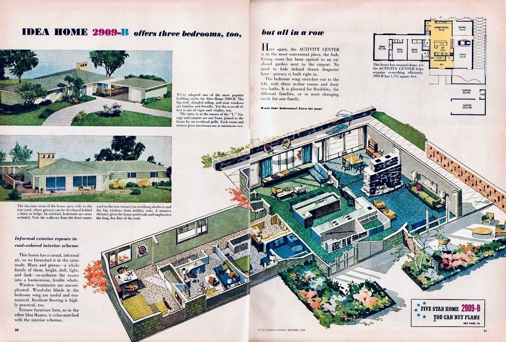 Better Homes And Gardens September 1959 Vintage House Plans Mid Century Modern House Plans Mid Century Ranch