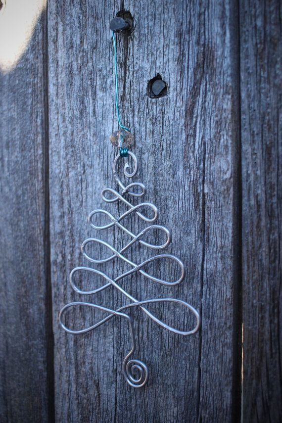 Handmade Christmas tree or Fleur De Lis wire ornaments are made to order