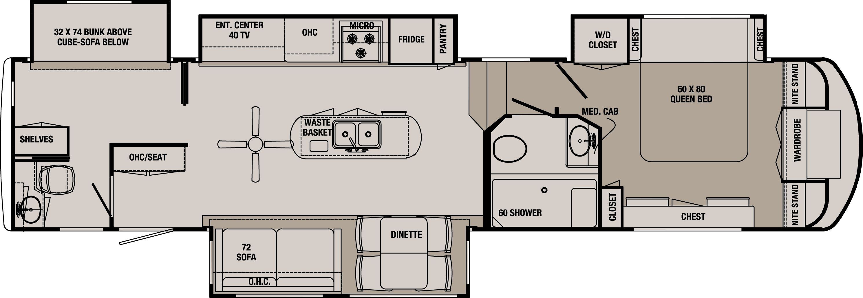 2 Bedroom Class A Rv Floor Plans Rv Floor Plans Floor Plans Bunk House