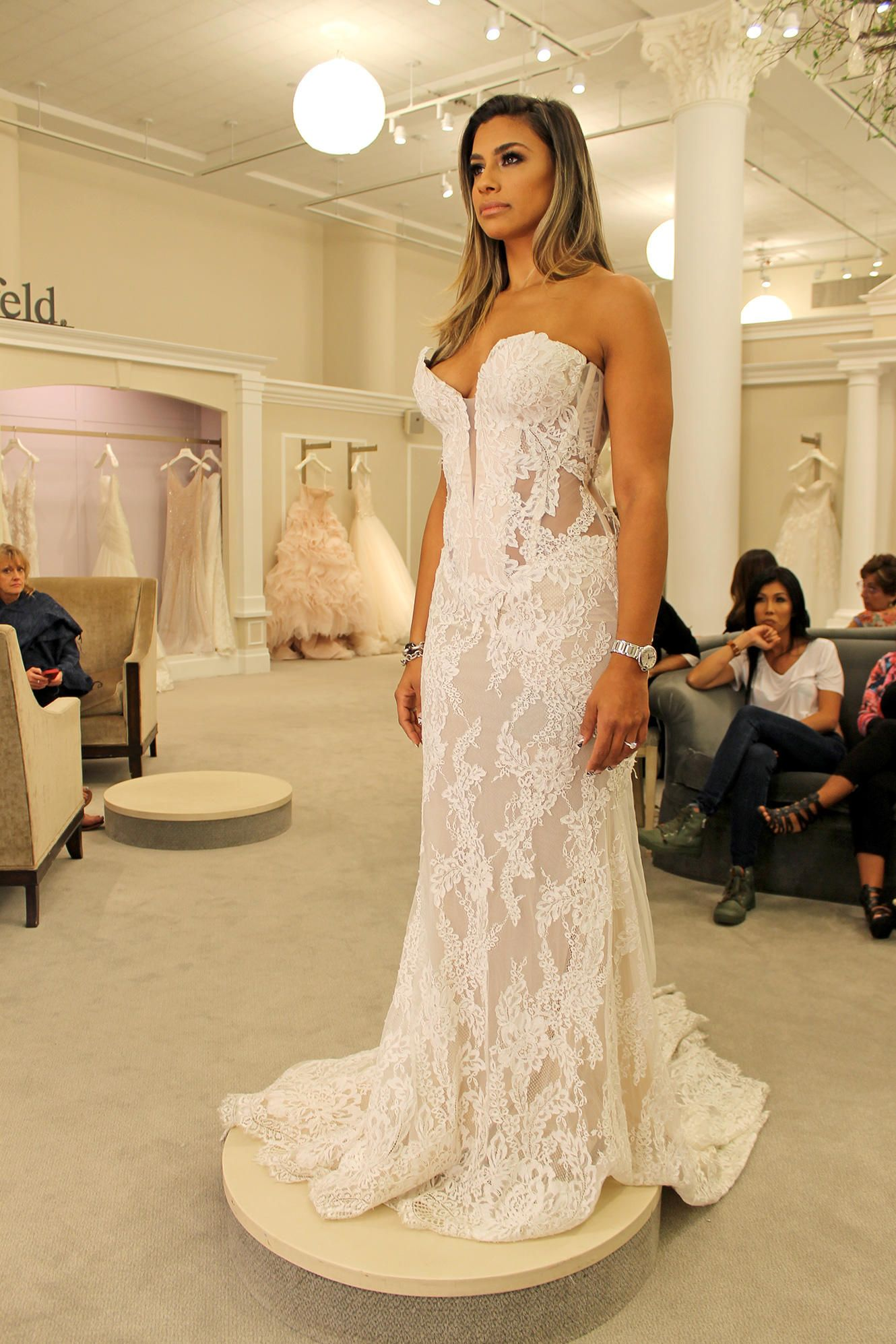 Season 14 Featured Dress: Pnina Tornai. Strapless, lace with nude ...