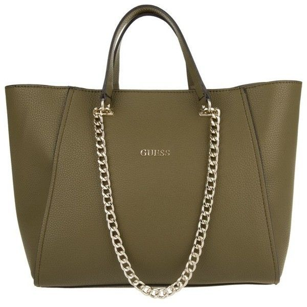 776fe803f3 Guess Nikki Chain Tote Olive in green