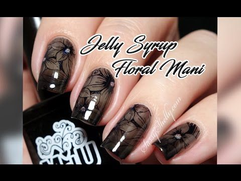Sheer Black Jelly Syrup Floral Nail Art Tutorial - SUBSCRIBE to my YouTube channel for new nail tutorials and swatch videos!  - Sassy Shelly  (youtube.com/MissShelly129)   #nailart #nails